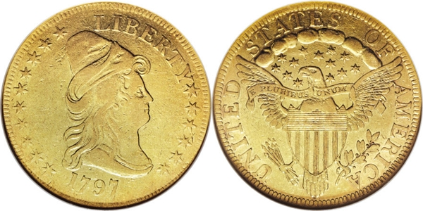 $10 Capped Head Right VF25 Grading Image