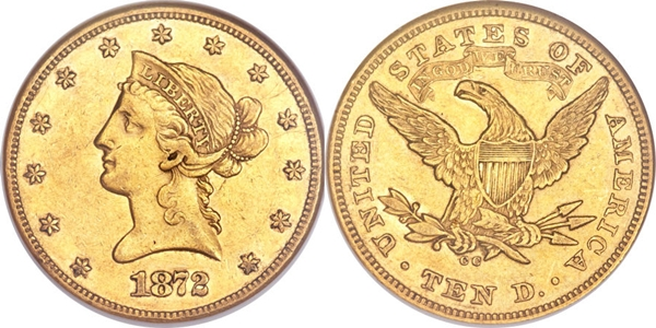 $10 Liberty Head With Motto Gold AU55 Coin Grading Image