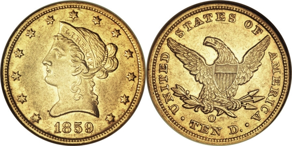 $10 Liberty Head No Motto Gold Coin AU55 Grading Image