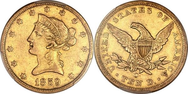 $10 Liberty Head No Motto Gold Coin EF45 Grading Image
