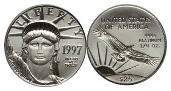 Most valauble $25 American Eagle Platinum Bullion values