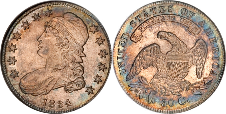 1834 Capped Bust Half Dollar Variety Images Overton