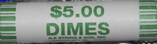 how many dimes in roll of dimes