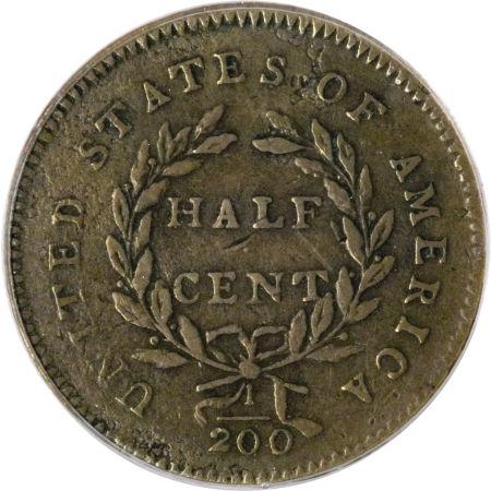 1794 Liberty Cap Half Cent Reverse