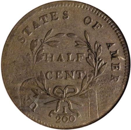 1797 Liberty Cap Half Cent, 1 Over 1 Reverse