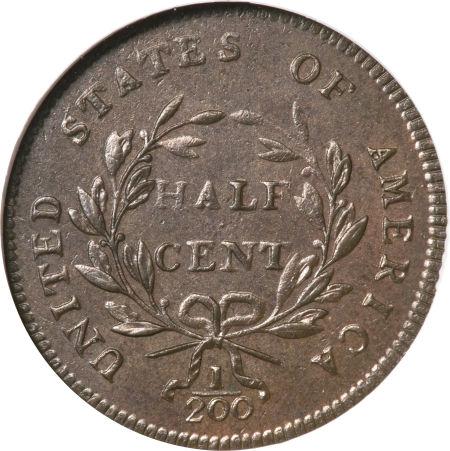 1797 Liberty Cap Half Cent, Facing Right