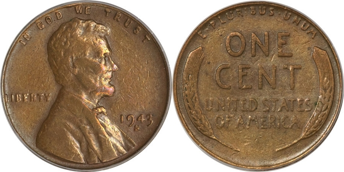1943-S Lincoln Cent Struck On Copper Planchet