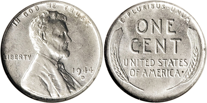 1944-D Lincoln Cent Struck On Steel Planchet