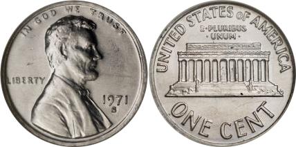 1971-S Lincoln Memorial Cent Struck On Aluminum Planchet Mint Error