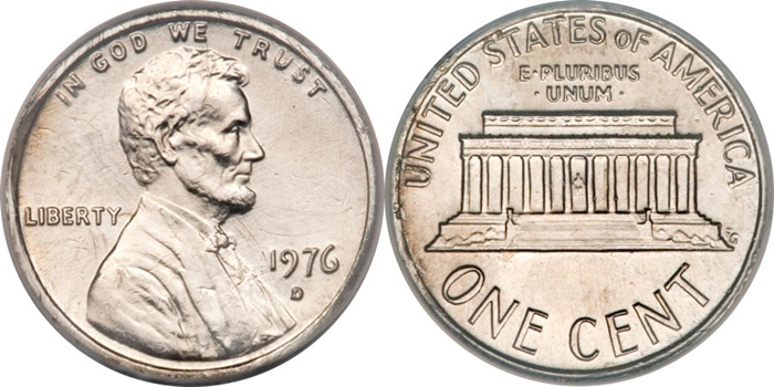 1976-D Lincoln Memorial Cent Struck On Copper Nickel