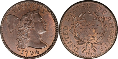 Liberty Cap Large Cent 1794-96 US Coin Values Chart | CoinHELP!