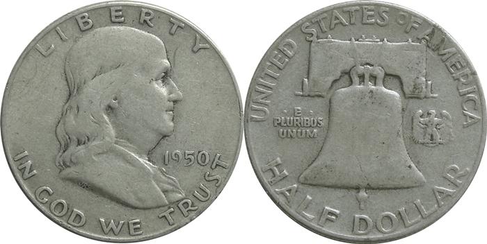 Very Fine VF25 Franklin Half Dollar Image