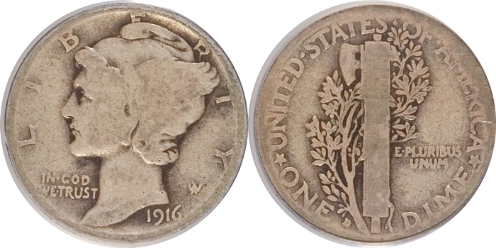 AG3 About Good Mercury Head Dime Grade Image