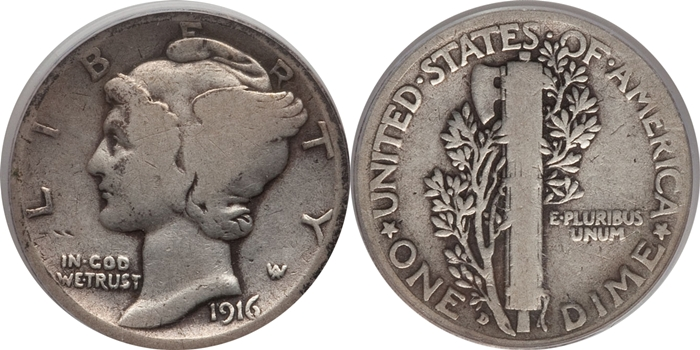 G4 Good Mercury Head Dime Grade Image