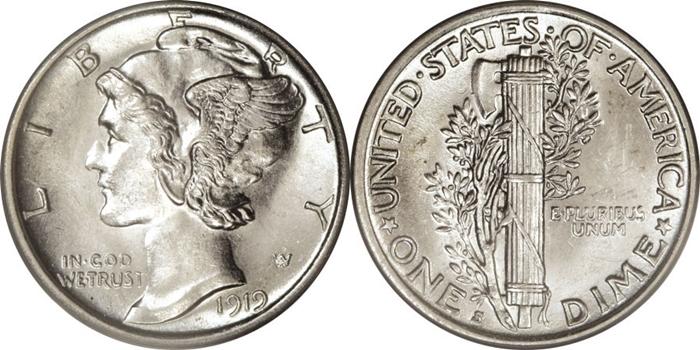 MS63 Mint State Mercury Dime Grade Image