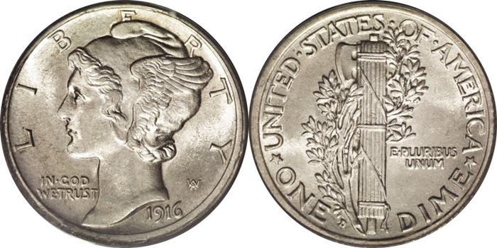 MS64 Mint State Mercury Dime Grade Image