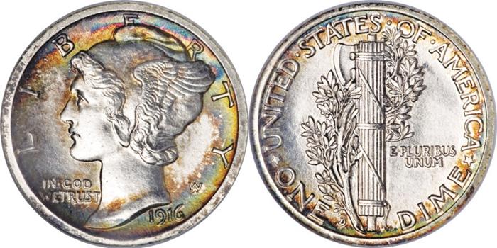 MS65 Mint State Mercury Dime Grade Image