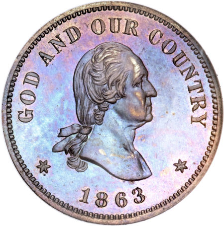 1863 Washington 2C Two Cents, Judd-305, Pollock-370, R.4, PR65 Brown